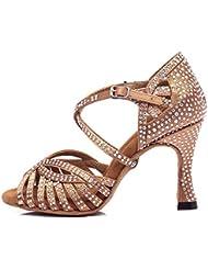 HCCY Scarpe da Danza Latina con Foratura a Caldo di Moda Scarpe da Jazz da Donna con Fondo Morbido e Interno in Bronzo