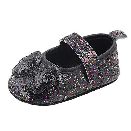 Lazzboy Infant Girls Indoor weichbesohlte Bow-Knot Princess Schuhe Baby Wanderschuhe 11-13(Schwarz,12)