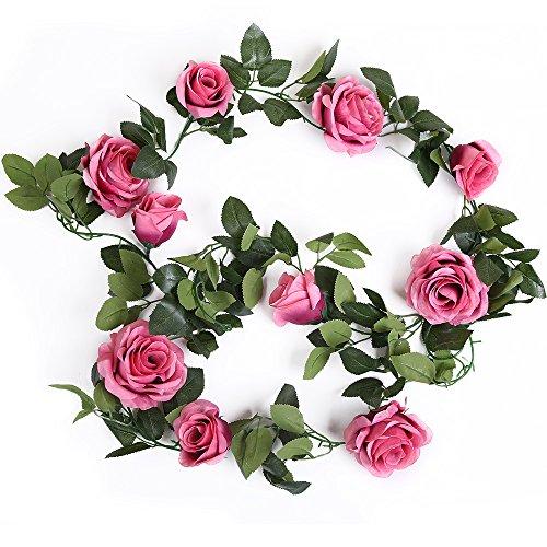 Luyue 10 head Vintage con Rose in seta artificiale edera Ghirlanda decorativa a forma di foglia di vite, per decorazione da appendere, confezione da 2 Rosso - Primavera Garland