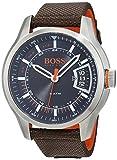Hugo Boss Orange Hong Kong Herren-Armbanduhr Analog mit braunem Textil Armband 1550002