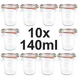 10 x Weck Gläser 140ml - Spar-Set - Sturzgläser mit Glasdeckel, Einkochring, Klammern *** Weck - Einmachglas - Weckglas - Weckgläser - Haushaltsglas - Einmachgläser - Sturzglas - Einkochglas - Marmeladenglas - Einkochgläser - Marmeladengläser ***