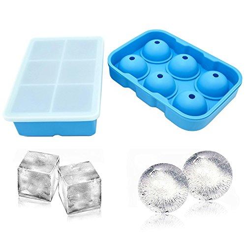 Cubetti di ghiaccio in silicone, set da 2, sfera rotonda ice ball maker & quadrata, stampo per cubetti di ghiaccio cubetti di ghiaccio blue …