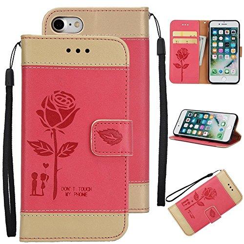 EKINHUI Case Cover Gemischte Farben Rose Blume matt Premium PU Leder Brieftasche Stand Case Cover mit Lanyard & Card Slots für iPhone 7 ( Color : Pink ) Red