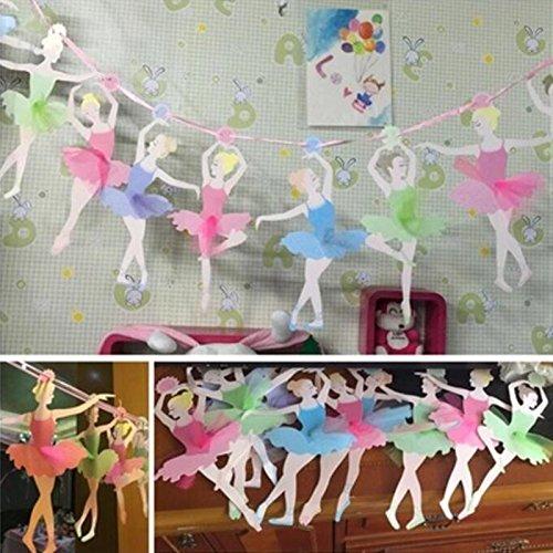 TOPmountain 3 m 1 Stück 10 Tänzerin Ballerina Mädchen Mädchen Banner Papier Fahne Hängende Papierfahne (Ballerina Dekoration Geburtstag Party)