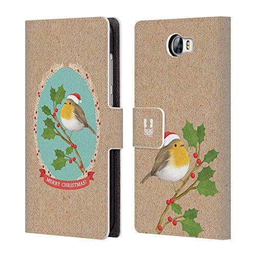 Head Case Designs Rotkelchen Weihnachtszeit Brieftasche Handyhülle aus Leder für Huawei Y6 II Compact