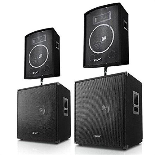 Skytec impianto audio dj pa 3200 watt (2 subwoofer, 2 casse, flangia per montaggio in verticale)