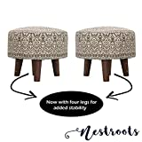 Nestroots Printed Ottoman Cushion Footrest Stool Pouf - 4 Wooden Legs Added Stability