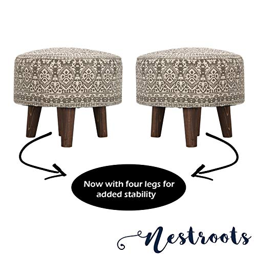 Nestroots Stool Pouffe, Puffy, Ottoman, Footrest, Printed with Wooden Legs for Living Room Set of 2