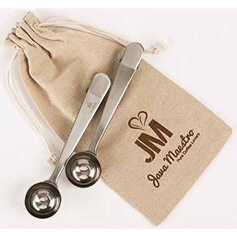 Cuchara de café de acero inoxidable de primera calidad y la cuchara de té con pinza de bolsa Integrada de Java Maestro Cuchara de la mango largo medida de 1.5 cucharadas (2