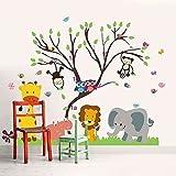 Walplus 150x 120cm Wand Aufkleber Monkey Animal Forest Tree Abnehmbare Wandbild Kunst Abziehbilder Vinyl Home Dekoration DIY Décor Tapete Kinderzimmer Kinder Kinder Raum Geschenk, mehrfarbig