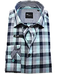 Venti Edition Black Slim Fit Langarmhemd grün grau blau Karodessin 172659900-300
