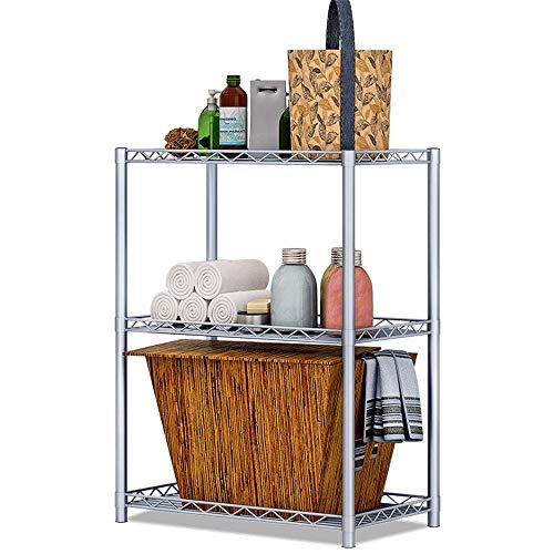 Daytimes Industrie Regal, 3-Tier Bücherregal, Storage Rack Regale, Badezimmer, Wohnzimmer, Metall-Look Accent Möbel, Silbergrau Rahmen, Multifunktionsständer -
