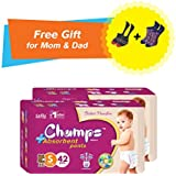 Premium Champs High Absorbent Premium Pant Style Diaper (Pack Of 2) (Free Pair Of Secret And Loafer Socks)| Premium Pant Diapers | Premium Diapers | Premium Baby Diapers | Anti-rash And Anti-bacterial Diaper | (Small, 42)