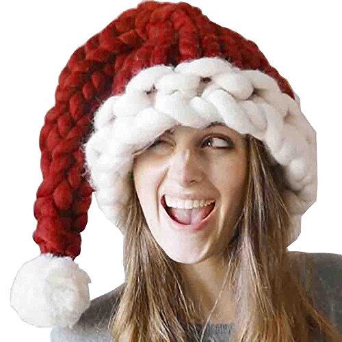 Piebo Kinder-Eltern Weihnachtsmütze (L, Rot) (Lustige Eltern Kind Halloween Kostüme)