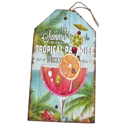 Dadeldo Holzschild Tropical Paradise Design MDF 27x15cm bunt Vintage Deko (Motiv 1)
