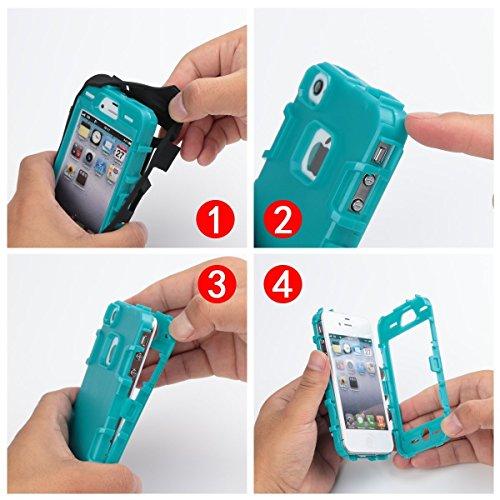 iPhone 4 Custodia - SUPAD® iPhone 4S Custodia Slim Fit sottile doppio Defender Case strato armatura Hybrid Coprire Silicone Cover per Apple iPhone 4/4S (Nero) Nero Blu