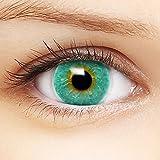 Farbige blaue Kontaktlinsen 'Intense Aqua' +Behälter für DUNKLE und HELLE Augen ohne und mit Stärke