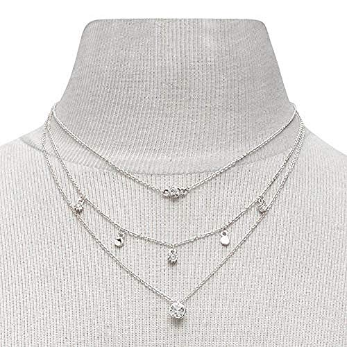 XLLJA Anhänger,Mehrschichtige Kristallquasten Halsketten Choker Halskette Kettenschmuck für Frauen und Mädchen (Silber) @Silver -