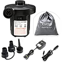 Joycoo Electric Air Pump Camping pump air mattress pump Portable Fast inflate Travel Inflator Deflator for,Pools, Boats,raft, Airbeds, Inflated toy 2 in 1 AC 240V UK plug/DC 12V Car Electric Pump