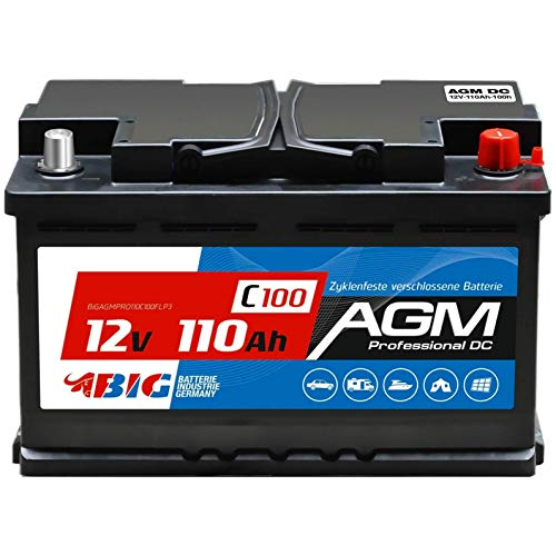 BIG AGM 110Ah 12V Solar Batterie Boot Camping Versorgung ersetzt GEL 100Ah 90Ah