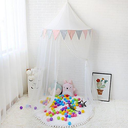Preisvergleich Produktbild Lebze Kinder Bett Baldachin, Kuppel Baumwoll Betthimmel Moskitonetz Insektenschutz für Baby Innen Lese Schlafzimmer Ankleidezimmer, Prinzessin Spielzelt für Kinder Durchmesser 100cm