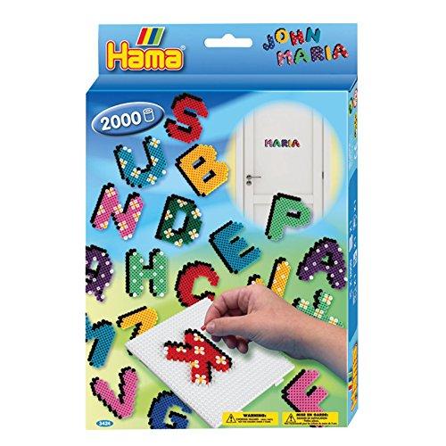 Hama 3424 - Perlenset Buchstaben, ca. 2000 Bügelperlen, 1 Stiftplatte und - 1 Schablone Richtung