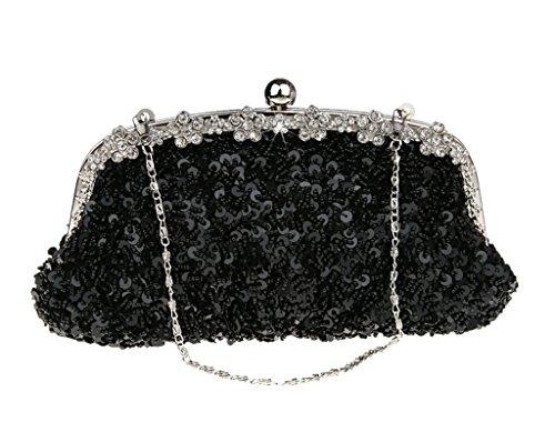 Damen Pailletten-Abend Taschen Party Kupplung, Weiß - weiß - Größe: schwarz