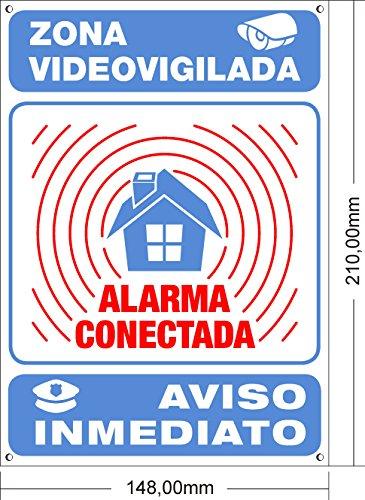 tualarmaSINcuotas Affiche dissuasive A5/int/érieur ext/érieur en PVC /étendu alarme connect/ée 21/x 15/cm Rouge