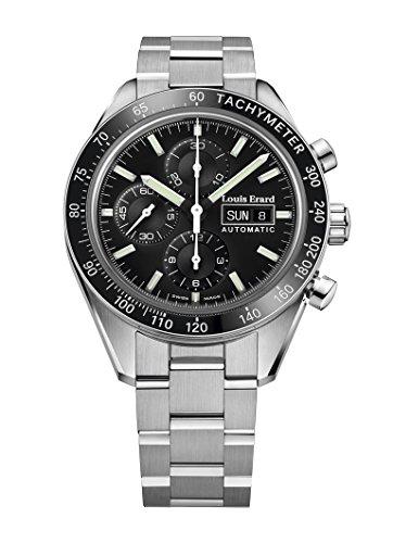 Louis Erard Sportive Automatik Uhr, Schwarz, Chronograph, Tachymeter, Tag/Datum