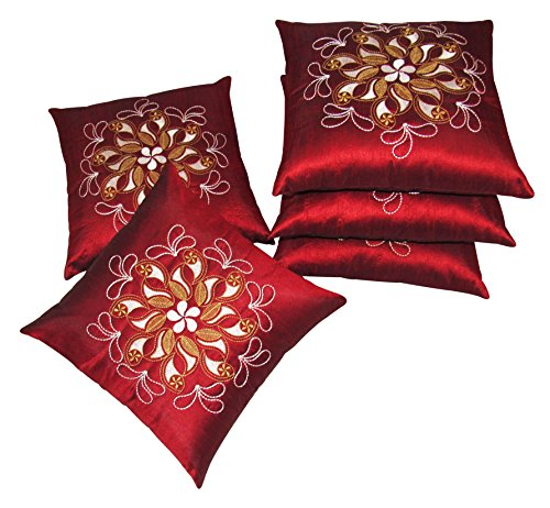 Zikrak exim bloom rays cushion cover red 5 pcs set 40 x 40 cm