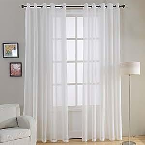 top finel 2 st ck transparent voile gardinen wohnzimmer vorh nge mit sen 140 x 215. Black Bedroom Furniture Sets. Home Design Ideas
