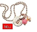 Armband mit Anhänger Plättchen Gravur rosavergoldet Initiale Buchstabe personalisiert Münze Plakette Scheibe Farbe: Rosagold