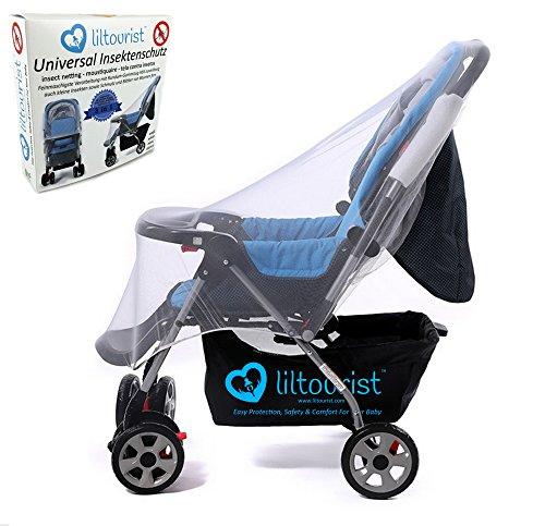 liltourist Baby Universal-Insektenschutz für Kinderwagen und Babywiegen mit Gummizug, Moskitonetz, Mückennetz, extra gross, weiss