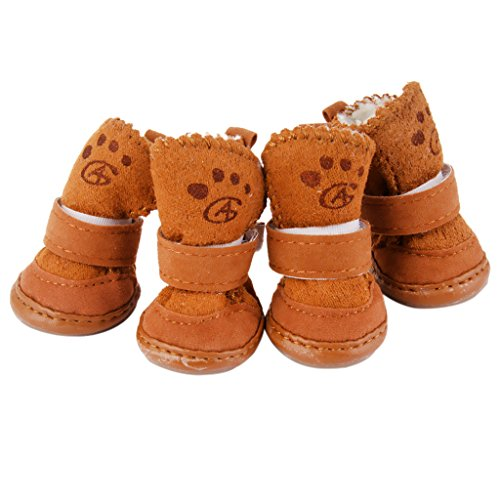 "Warm Walking Cozy Pet Dog Shoes Boots Clothes Apparel 3# – Tan–Fit Paws (Approx.): 1 3/4"" x 1 1/2"" (L x W)"