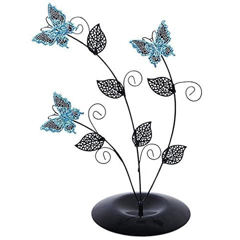 Tankerstreet support de bijoux papillon, bijoux, support pour colliers Bleu, Présentoir à bijoux arbre en métal, bijoux bagues pour boucles d'oreilles Bracelets Bagues d'oreille à tige support organiseur et de l'affichage de