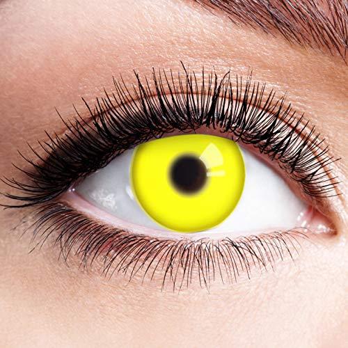 Farbige Kontaktlinsen Glow Gelb Motivlinsen Ohne Stärke mit Motiv Gelbe Linsen Halloween Karneval Fasching Cosplay Kostüm Yellow UV Shock