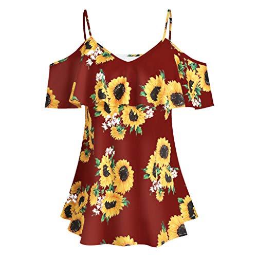 VEMOW Sommer Elegante Damen Große Größe Frauen Schmetterling Druck Oansatz Schwarz T-Shirt Kurzarm Casual Täglichen Party Tops Bluse rückenfrei Pullover - Pullover Schwarz Damen Polo