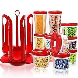 Fun Life Vorratsdosen, 25-teiliges Behälter-Set für Lebensmittel mit drehbarem Rack, Robustes Kunststoffkanister mit roten Deckeln, perfekt für Lagerung von Mehl, Zucker