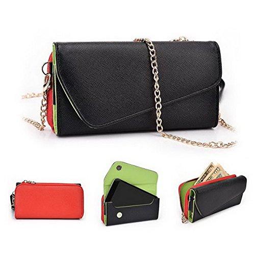 Kroo d'embrayage portefeuille avec dragonne et sangle bandoulière pour LG G4Beat/Bello II Multicolore - Rouge/vert Multicolore - Noir/rouge