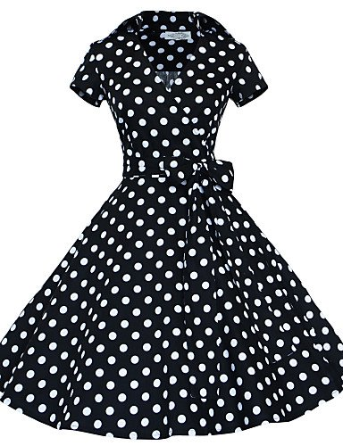 PU&PU Robe Aux femmes Grandes Tailles Grandes Tailles / Vintage / Soirée / Travail / Décontracté , Points Polka V Profond Mi-long Coton black-l