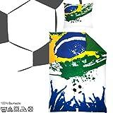 Bettwäsche für Fußball Fans mit Reißverschluss,135 x 200 cm, Renforce Baumwolle. Fußballbettwäsche …
