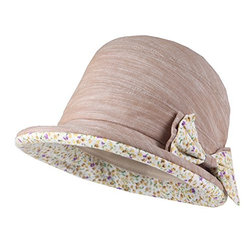 CACUSS Damen Strand Hat Eimer Hut klappbare Kappe Sommer Sonne Hüte Rollen birm UPF 50+ (Khaki) - Damen Eimer Upf Hut