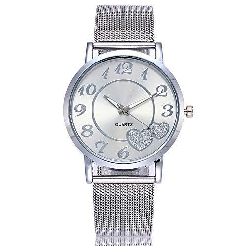 Damen Uhren Mesh Armbanduhren für Frauen Günstige Uhren Wasserdicht Casual Analoge Quarz Uhr Luxus Armband Uhren Edelstahl Business Mädchen Sport Uhren (Silber)