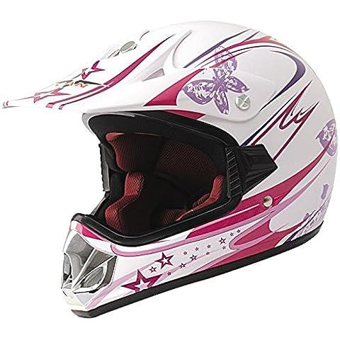 protectWEAR Max Racing Casco de Motocross para Niño, Rosa/Blanco Brillante, XXS