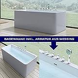 Moderne Badewanne Vicenza601 inkl. Armatur, BTH:180x80x58cm, freistehend und weiß