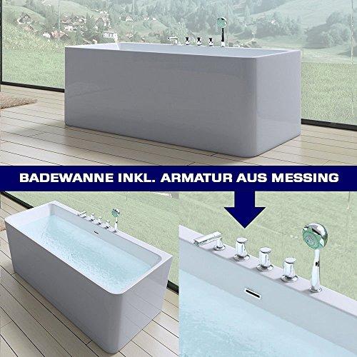 Luxus-Badewanne Vicenza601 in weiß, mit Armatur, BTH: 180x80x57 cm | Wandmontage