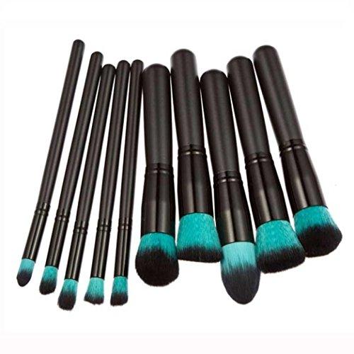 Pinceau Maquillage BZLine, 10Pcs Pinceaux Professionnel & Brush Cosmétique pour les Poudres, Anticernes, Contours, Fonds de Teints et Eyeliner - Noir
