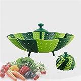 Faltbarer kratzfeste Gemüse Dämpfkorb, Küche Kochen Werkzeug, Grün - 2