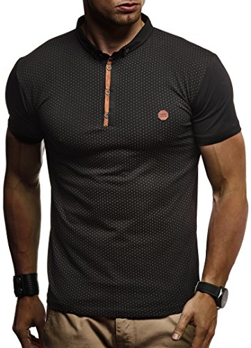 LEIF NELSON Herren Sommer T-Shirt Polo Kragen Slim Fit Baumwolle-Anteil | Basic schwarzes Männer Poloshirts Longsleeve-Sweatshirt Kurzarm | Weißes Kurzarmshirts lang | LN1295 Schwarz X-Large -