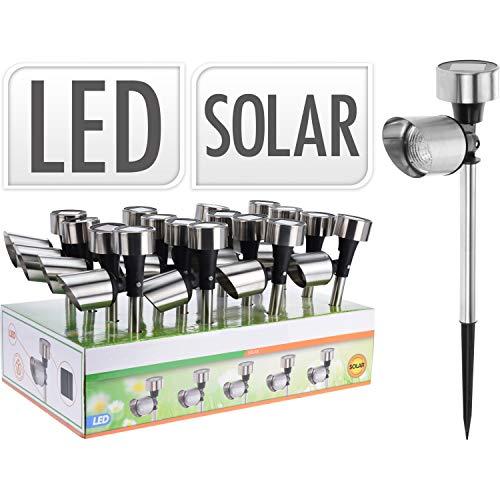 16er Set Solarleuchten Led Solarlampen Edelstahl außen mit Dämmerungsschalter Garten Spotlight Terrasse Balkon Gartenleuchte Gartenstrahler